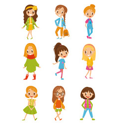 cute cartoon girls in fashionable clothes set vector image