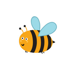 cute little bee isolated element funny insect vector image