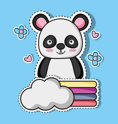 Cute panda animal patch sticker vector
