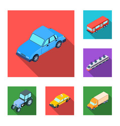 different types of transport flat icons in set vector image