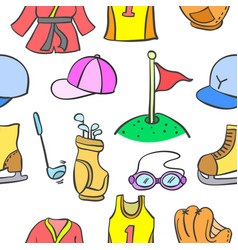 doodle of sport equipment pattern style vector image