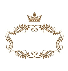 Elegant royal medieval frame with crown vector image