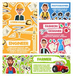 Engineer photographer farmer fashion designer vector