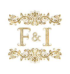 f and i vintage initials logo symbol vector image
