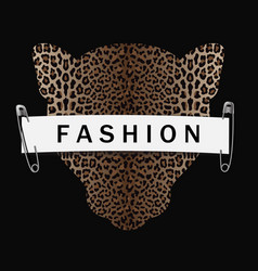 fashion t-shirt print with leopard head silhouette vector image