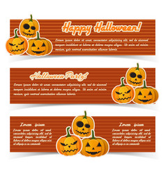 festive happy halloween horizontal banners vector image