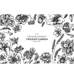 Floral design with black and white anemone vector