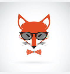 Fox wearing glasses on white background animal vector