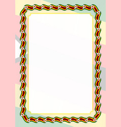 Frame and border of ribbon with zimbabwe flag vector