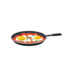 fried egg with tomatoes in a frying pan fresh vector image