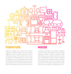 furniture house line template vector image
