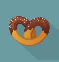 German pretzel icon flat style vector