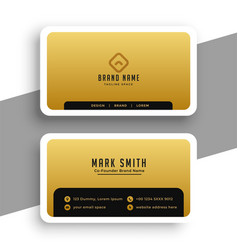 golden business card in minimal elegant style vector image
