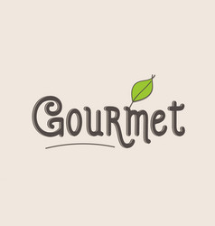 Gourmet word text typography design logo icon vector