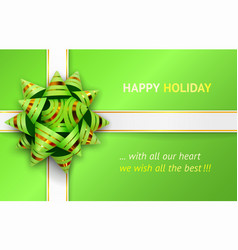 Green bow and white ribbons vector