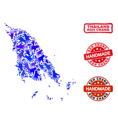 Hand collage koh chang map and distress vector