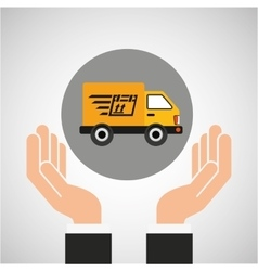 Hand delivery service fast truck graphic vector