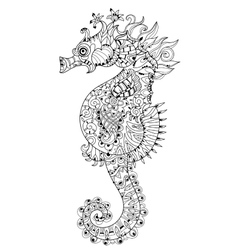 Hand drawn doodle outline seahorse vector