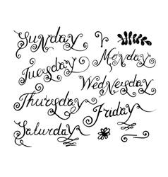handwritten days week vector image