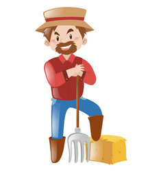 happy farmer with fork vector image