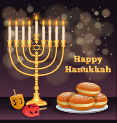 happy hanukkah night concept background realistic vector image