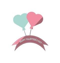 happy valentines day card blue and pink heart vector image