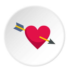 Heart pierced by cupid arrow icon circle vector