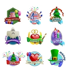 Holydays Celebrations Emblems Collection vector