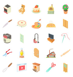 Home worker icons set cartoon style vector