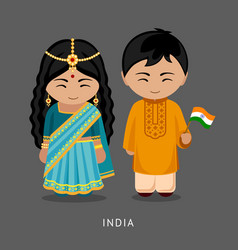Indians in national dress with a flag vector