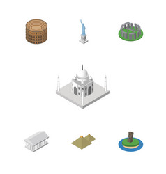 isometric travel set of coliseum chile egypt and vector image vector image