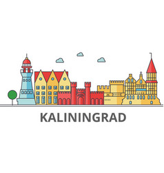 Kaliningrad city skyline buildings streets vector