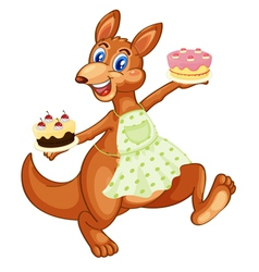 Kangaroo with cakes vector image