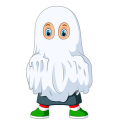 kid in ghost costume for halloween vector image