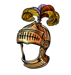 knight helmet with feathers face masquerade vector image