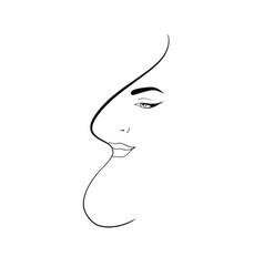 Line art abstract beautiful female face 4 vector
