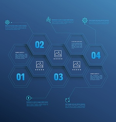 Line infographic hexagons with number options vector