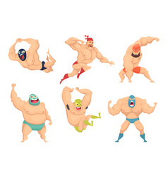 Lucha libre characters mexican wrestler fighters vector
