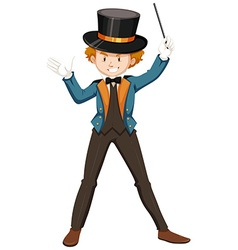 Magician in blue suit vector image
