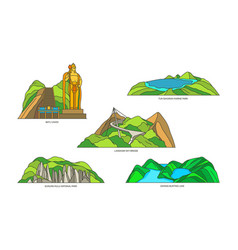 Malaysia linear landmarks travel and nature icons vector