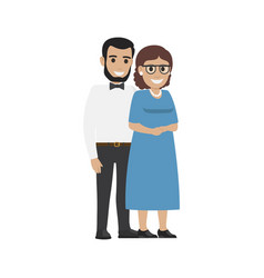 Married middle aged couple average family vector