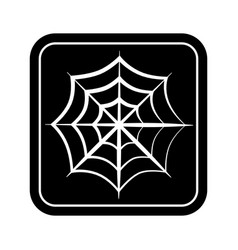 monochrome square silhouette with spiderweb vector image