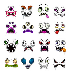 monster face funny emoticons and emojis cartoon vector image