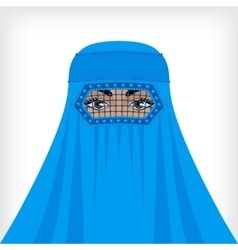 Muslim woman in blue burqa vector