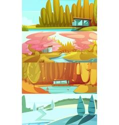 nature seasons landscapes horizontal banners set vector image