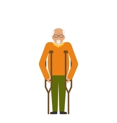 Older Man with Crutches Disability Elderly vector