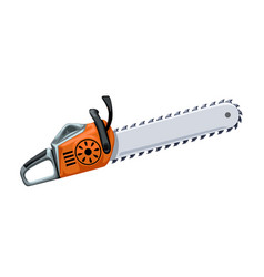 Orange chainsaw on white vector