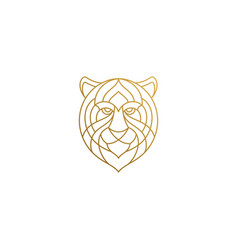 Outline head gorgeous tiger hand drawn with vector