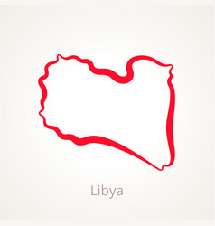 Outline map of libya marked with red line vector