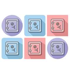 outlined icon of safe with parallel vector image